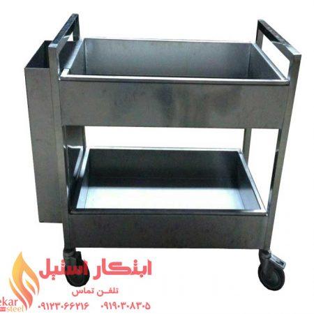 ترولی دو طبقه حمل ظروف | ترولی استیل حمل ظروف | ترولی حمل ظروف
