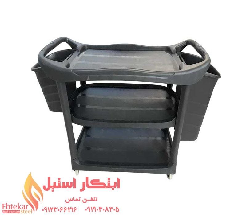 ترولی پلاستیکی حمل ظروف | ترولی پلاستیکی رستوران | ترولی حمل ظرف