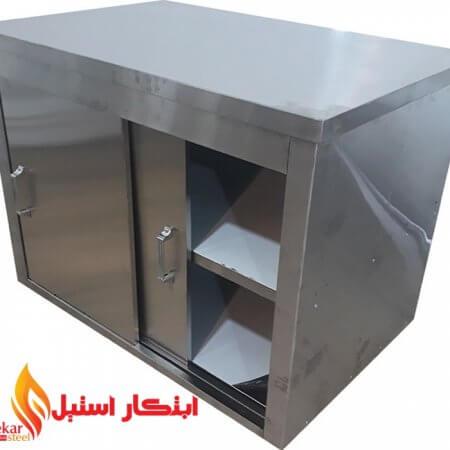 کابینت صنعتی فست فود | کابینت استیل فست فود | کابینت درب کشویی استیل